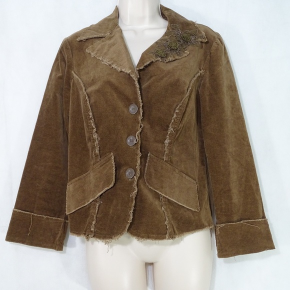 BKE Jackets & Blazers - BKE Buckle Frayed Velour Jacket Blazer Size L